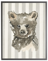 rectangle art print watercolor baby bear grey wood frame grey stripes