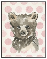 rectangle art print watercolor baby bear grey wood frame pink dots
