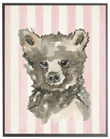 rectangle art print watercolor baby bear grey wood frame pink stripes