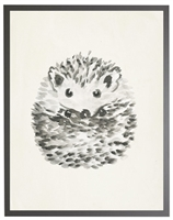 rectangle art print watercolor baby hedgehog grey wood frame