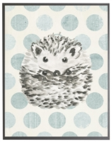 rectangle art print watercolor baby hedgehog grey wood frame blue dots