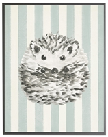 rectangle art print watercolor baby hedgehog grey wood frame blue stripes