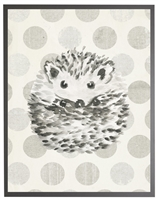 rectangle art print watercolor baby hedgehog grey wood frame grey dots