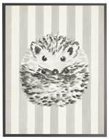 rectangle art print watercolor baby hedgehog grey wood frame grey stripes