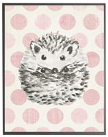 rectangle art print watercolor baby hedgehog grey wood frame pink dots