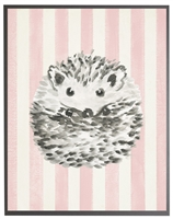 rectangle art print watercolor baby hedgehog grey wood frame pink stripes