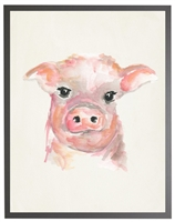 rectangle art print watercolor baby pig grey wood frame