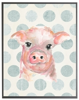 rectangle art print watercolor baby pig grey wood frame blue dots