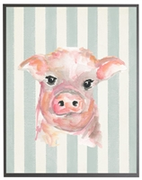 rectangle art print watercolor baby pig grey wood frame blue stripes