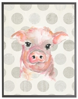 rectangle art print watercolor baby pig grey wood frame grey dots