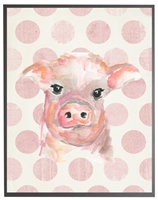rectangle art print watercolor baby pig grey wood frame pink dots