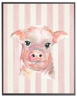 rectangle art print watercolor baby pig grey wood frame pink stripes