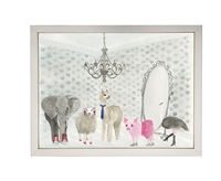 rectangle art print watercolor animals dress up party