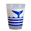 plat du jour whale disposable cups plastic 12 blue frosted 16 oz. whale tail stripe blue + white coastal