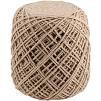 felted wool hand woven pouf wheat