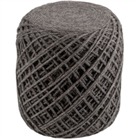 felted wool hand woven pouf charcoal