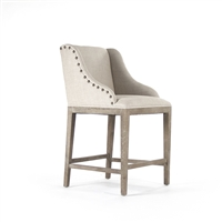 Nailhead Upholstered Stools - Linen + Oak (size options)