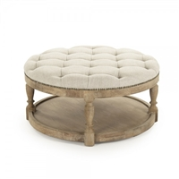 ottoman wood natural linen off-white tufted bronze nailheads lower shelf round