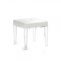 Acrylic Leg Vanity Stool - Leather Top