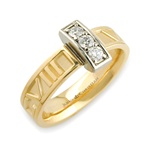 Diamond Numeros™ Bridge Ring - 14K Yellow & White