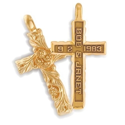Sculpted Expres™ Cross - 14K Yellow or White