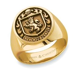 Man's Family Crest Ring - 14K Yellow or White