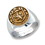 Man's Family Crest Ring - Two Tone 14K Gold