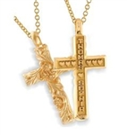 Sculpted Continuous Life™ Cross - 14K Yellow or White