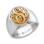 Man's Camden Monogram Ring - 14K Yellow & White