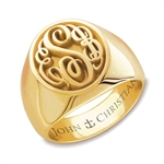 Lady's Camden Monogram Ring - 14K Yellow or White