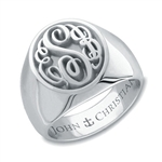 Lady's Camden Monogram Ring - Platinum