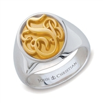 Man's Somerset Monogram Ring - 14K Yellow & White