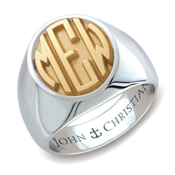 Man's Sutton Monogram Ring - 14K Yellow & White