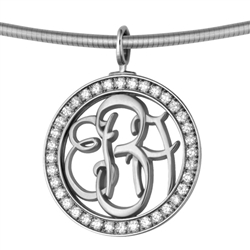 Diamond-Bezel Monogram Medallion - Platinum