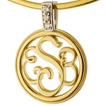 Monogram Medallion Two-Tone Diamond 14K Gold Necklace