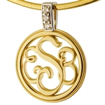 Monogram Medallion Two-Tone Diamond 18K/Platinum Necklace