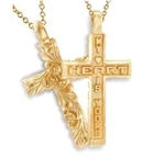 Sculpted Posey™ Cross - 14K Yellow or White
