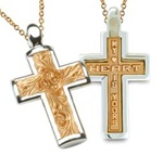 Two-Tone Sculpted Posey Cross - 14K Yellow & White