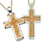 Two-Tone Sculpted Posey Cross - 18K Yellow & 14K White