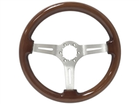 Auto Pro USA , Volante , Mahogany , Wood , Steering Wheel , brushed Center , Brown , GM , MOPAR , FORD , Corvette , Mustang , Charger , Challenger , Camaro , El camino , Impala , bel air , nova , chevy II , oldsmobile , firebird , bronco , vw ,
