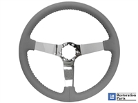 S6 Step Series Black Leather Chrome Steering Wheel, ST3040GRY