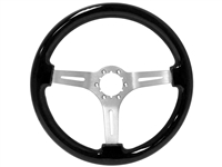 Auto Pro USA , Volante , Sport , Black ash, Wood , Steering Wheel , brushed Center , Black , GM , MOPAR , FORD , Corvette , Mustang , Charger , Challenger , Camaro , El camino , Impala , bel air , nova , chevy II , oldsmobile , firebird , bronco , vw ,
