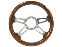 S9 Walnut Wood, Quad-Spoke Center with Slots