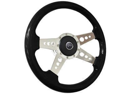 Auto Pro USA , Volante , Steering Wheel , Mercury , Courgar , 1968 , 1969 , 1970 , 1971 , 1972 , 1973 , Wood , full kit , 9 bolt , black ash ,