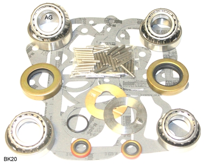 Dana 20 Transfer Case Bearing and Seal Kit, I.D. front output bearing cones 33.25mm, BK20