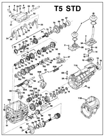 Ford Mustang 5 Speed Transmission Repair Parts T5 Diagram