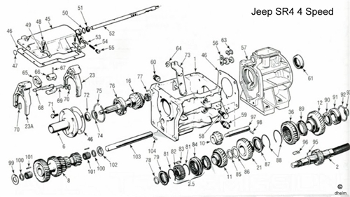 Jeep SR4 4 Speed Transmission Diagram / Drawing