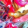 "2.5"" Squid Skirts - 20 skirts per pack - Bright Red, Transparent Belly UV #1208"