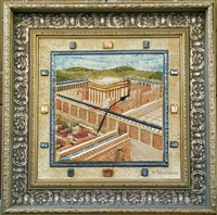 Framed Ceramic Panoramic View Beit Hamikdash - Clock 23 x 23