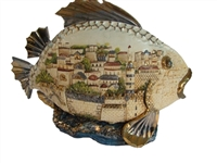 Ceramic 3D Fish with Jerusalem View